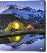 Tents Lit By Flashlight On Cascade Acrylic Print