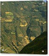 Terraced Fields Above Canyon Draining Acrylic Print
