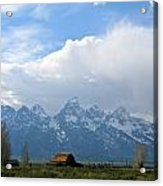 Teton Mountains And Barn Acrylic Print