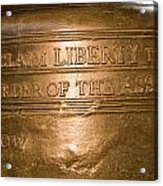 Text On The Liberty Bell Acrylic Print by Tim Laman