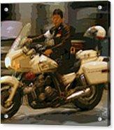 Thai Motorbike Police Acrylic Print by Kantilal Patel