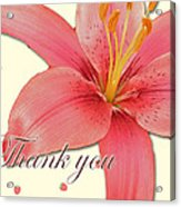 Thank You Card - Pink Lily Acrylic Print