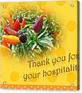 Thank You For Your Hospitality Greeting Card - Decorative Pepper Plant Acrylic Print