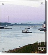 Thanksgiving Dusk On The Mississippi Acrylic Print