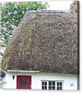 Thatched Roof Cottage With Red Door Acrylic Print
