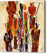 Figurative Abstract African Couple Reproduction On Gallery Wrapped Canvas  Acrylic Print