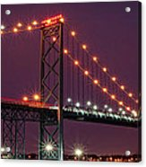 The Ambassador Bridge At Night - Usa To Canada Acrylic Print by Gordon Dean II