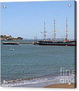 The Balclutha . A 1886 Square Rigged Cargo Ship At The Hyde Street Pier Overlooking Alcatraz.7d14068 Acrylic Print
