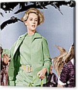 The Birds, Tippi Hedren Center, 1963 Acrylic Print by Everett