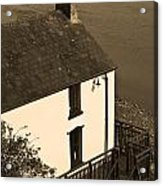 The Boathouse At Laugharne Sepia Acrylic Print