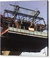 The Bridge Building Platform Being Used In The Construction Of The Delhi Metro Acrylic Print