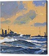 The British Cruisers Hms Exeter And Hms York  Acrylic Print