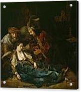 The Death Of Lucretia - Mid 1640s  Acrylic Print by Harmensz van Rijn Rembrandt