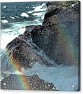 The Devils Washtub With Double Rainbow Acrylic Print