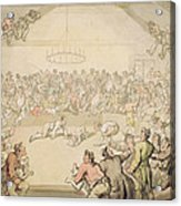 The Dog Fight Acrylic Print by Thomas Rowlandson