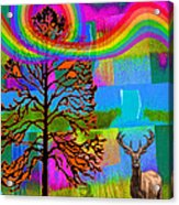 The Earth Rejoices Series Deer And Basswood Acrylic Print by Robin Jensen