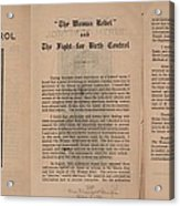 The Fight For Birth Control, A Pamphlet Acrylic Print by Everett