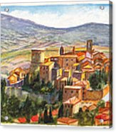 The Fortified Walled Village Of Gualdo Cattaneo Umbria Italy Acrylic Print
