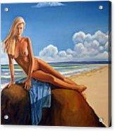 The Girl On The Rock Acrylic Print