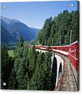 The Glacier Express Crosses A Bridge Acrylic Print by Taylor S. Kennedy