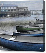 The Green Canoe Acrylic Print by Debra and Dave Vanderlaan