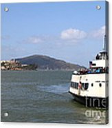 The Harbor King Ferry Boat On The San Francisco Bay With Alcatraz Island In The Distance . 7d14355 Acrylic Print