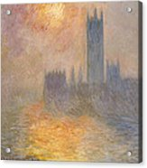 The Houses Of Parliament At Sunset Acrylic Print by Claude Monet