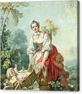 The Joys Of Motherhood Acrylic Print by Jean-Honore Fragonard