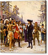 The Landing Of William Penn, 1682 Acrylic Print by Photo Researchers
