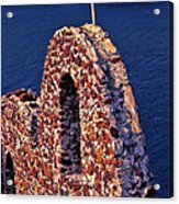 The Last Wall Standing Santorini Greece Acrylic Print