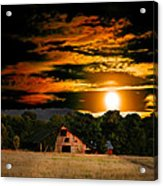 The Late Sam's Rd. Barn In The Moonlight Acrylic Print