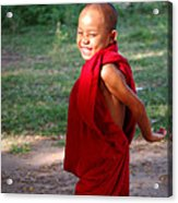 The Little Monk Of Mingun Acrylic Print by RicardMN Photography