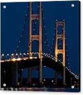The Mackinaw Bridge At Night By The Straits Of Mackinac Acrylic Print