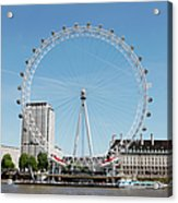 The Millennium Wheel And Thames Acrylic Print by Richard Newstead