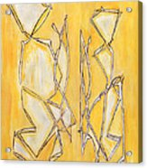 Unique Abstract Art Giclee Canvas Print Original Painting The Couple Decorator Line Art Yellow White Acrylic Print by Marie Christine Belkadi