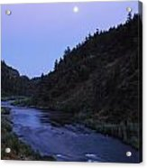 The Moon Appears Over The Rogue River Acrylic Print