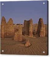 The Moon Rises Over Limestone Pinnacles Acrylic Print