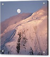 The Moon Rises Over Snow-blown Peaks Acrylic Print