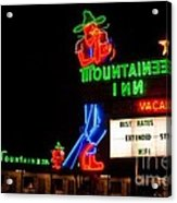 The Mountaineer Inn Neon Motel Series Acrylic Print