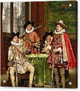 The Musketeer's Tale Acrylic Print by Adolphe Alexandre Lesrel