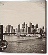 The New York City Skyline And The Brooklyn Bridge Acrylic Print by Vivienne Gucwa