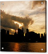 The New York City Skyline At Sunset Acrylic Print by Vivienne Gucwa