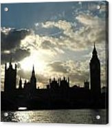 The Outline Of Big Ben And Westminster And Other Buildings At Sunset Acrylic Print