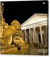 The Pantheon At Night. Piazza Della Rotonda.rome Acrylic Print by Bernard Jaubert