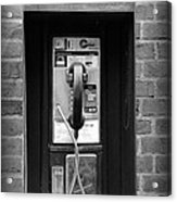 The Payphone - Black And White Acrylic Print