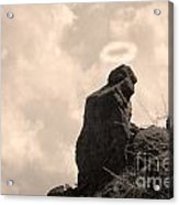 The Praying Monk With Halo - Camelback Mountain Acrylic Print by James BO  Insogna