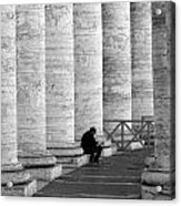 The Reader Amidst The Columns Bw Acrylic Print