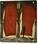 The Red Blinds Of Venice Fish Market Acrylic Print