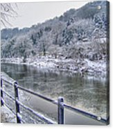 The River Severn In Ironbridge Frozen During Winter II Acrylic Print