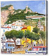 The Ruined Tower Above The Beach At Amalfi On The Southern Italian Coast Acrylic Print